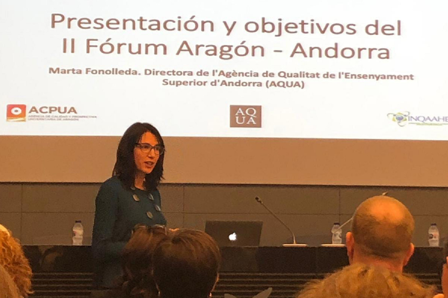 Marta Fonolleda, Director of AQUA), presenting the II Forum